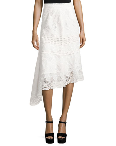 Pollen Lace Asymmetric Midi Skirt, Ivory
