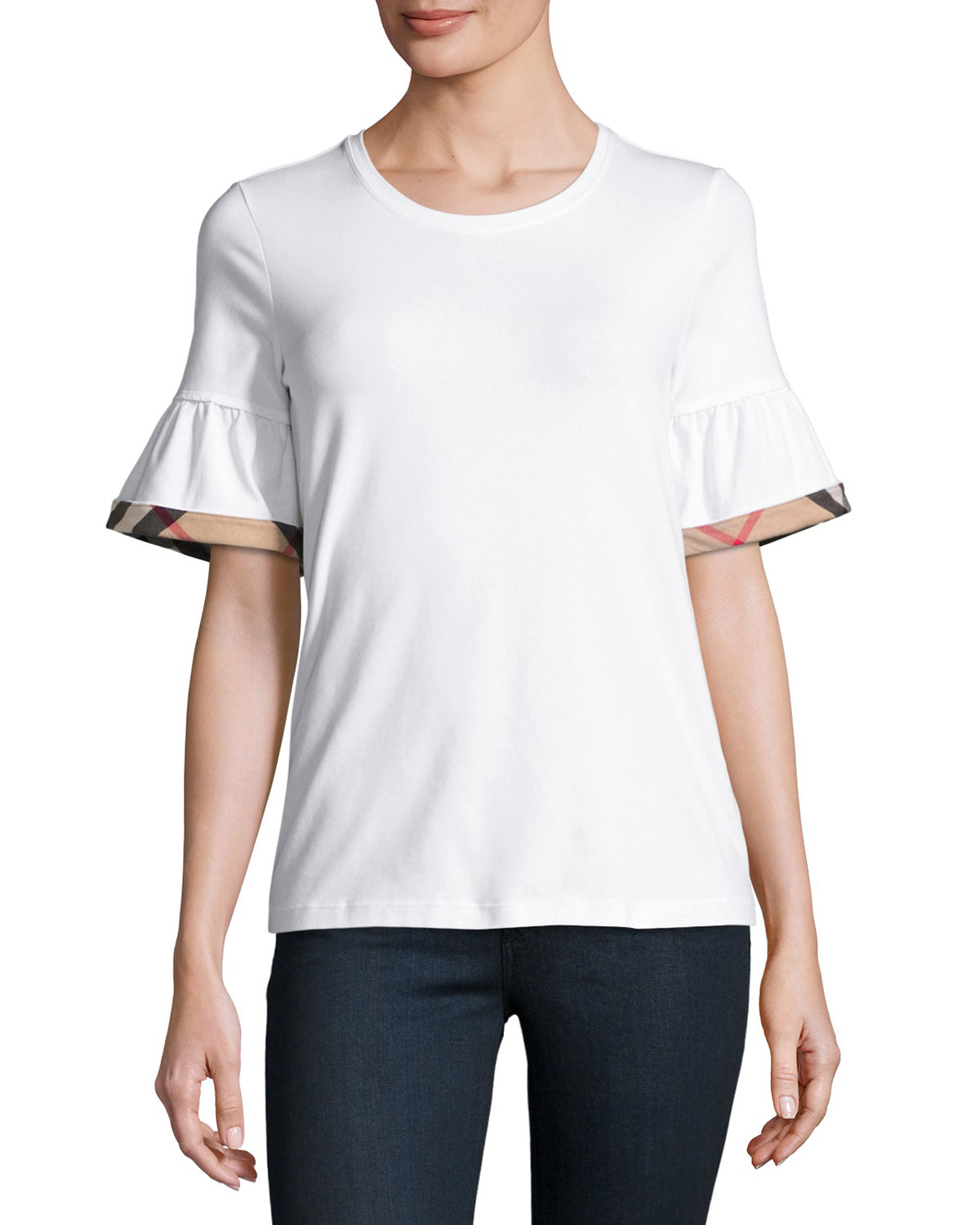 Crewneck Tee w/ Gathered Check-Trim Sleeves, White