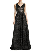 Sleeveless Mixed-Media Ball Gown, Gold/Black