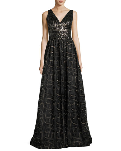 Sleeveless Mixed-Media Ball Gown, Gold/Black