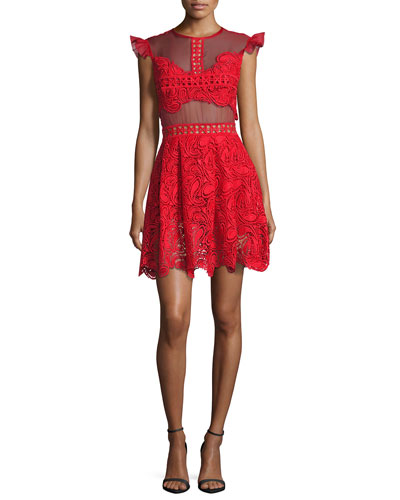 Manhattan Lace Mini Dress, Red
