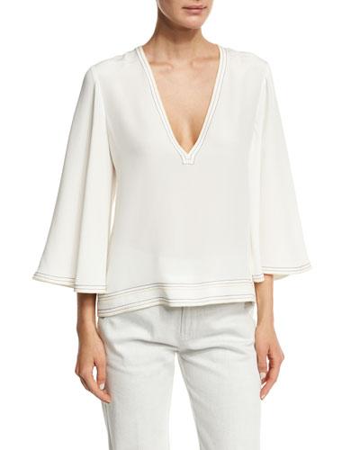 V-Neck Flutter-Sleeve Silk Blouse, White