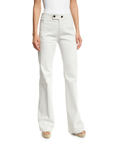 Unbleached Button-Tab Jeans, White