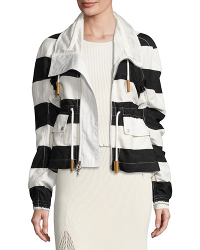 Striped Cropped Anorak Jacket, Multi