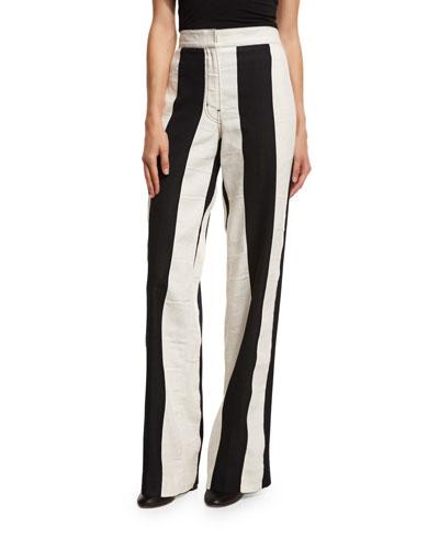 Striped High-Waist Wide-Leg Pants, Multi