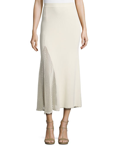 Ribbed Mesh-Inset Midi Skirt, Neutral