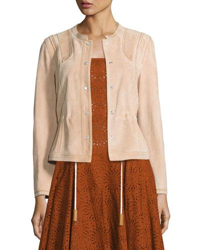 Suede Short Anorak Jacket, Pink