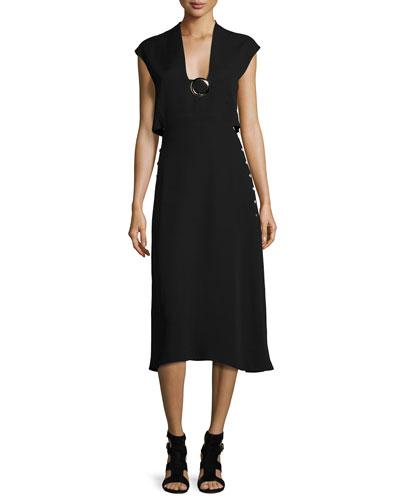 Buckle Sleeveless Cutout Midi Dress, Black