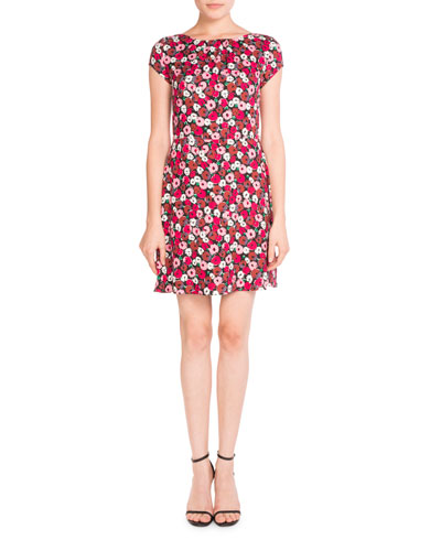 Poppy-Print Cap-Sleeve Dress, Multi Pattern
