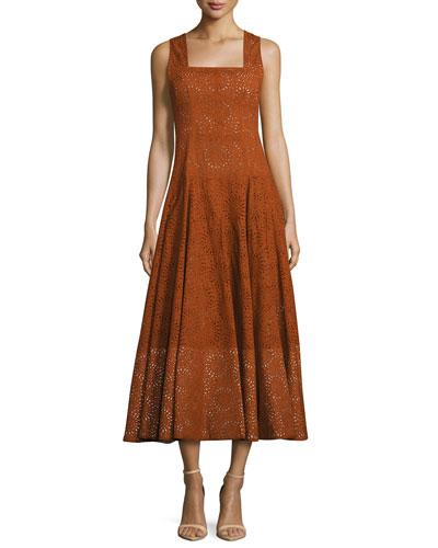 Sleeveless Eyelet Midi Dress, Orange