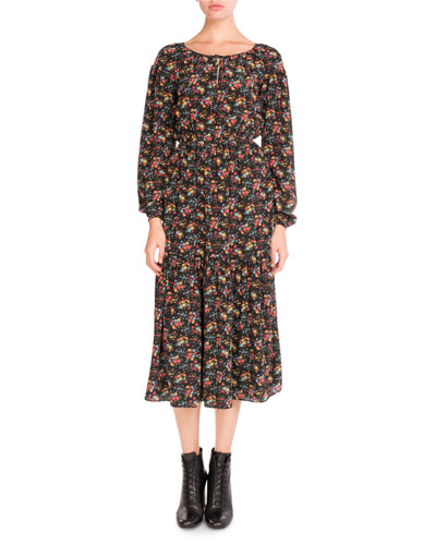 Bouquet-Print Peasant Midi Dress, Black Pattern