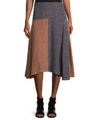 Broken-Dash A-Line Midi Skirt, Multi