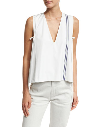 Striped Sleeveless V-Neck Blouse, Multi
