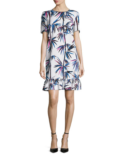 Short-Sleeve Printed Ruffle-Hem Dress, White/Multi