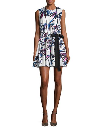 Sleeveless Ruffled Drawstring-Bow Dress, White/Multi
