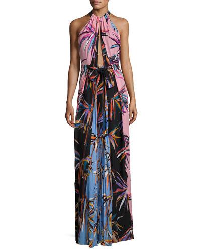Printed Silk Keyhole Halter Gown, Black/Pink/Blue