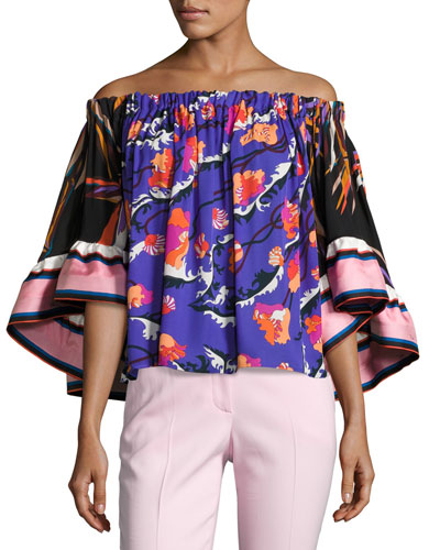 Off-Shoulder Ruffle-Sleeve Top, Multi
