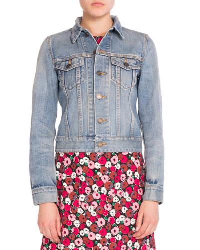Love-Patch Denim Jacket, Slate