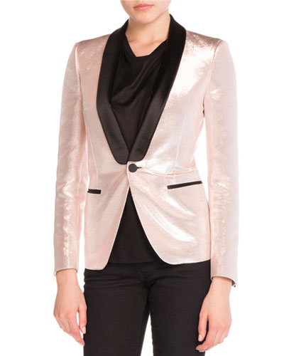 Shawl-Collar Lamé Jacket, Rose Gold