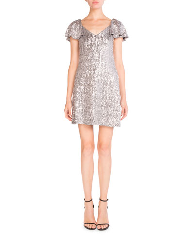 Sequined V-Neck Ruffled-Sleeve Dress, Silver
