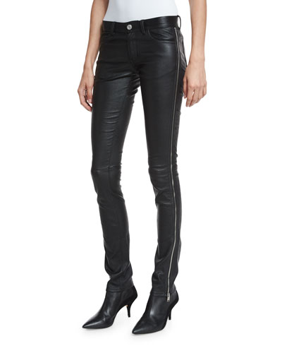 Side-Zip Leather Tuxedo Pants, Black