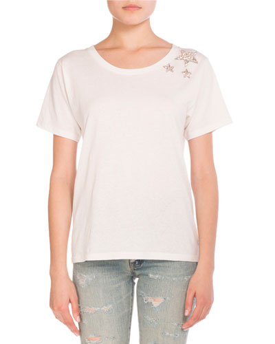 Star Crewneck Cotton Tee, Neutral