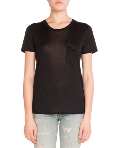 Chest-Pocket Silk Tee, Black