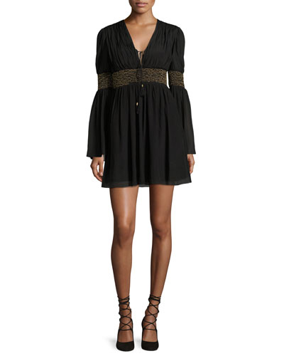 Laurel Smocked Chiffon Mini Dress, Black