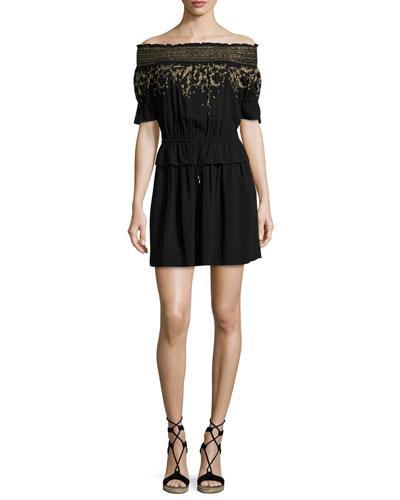 Bethany Embroidered Off-the-Shoulder Dress, Black