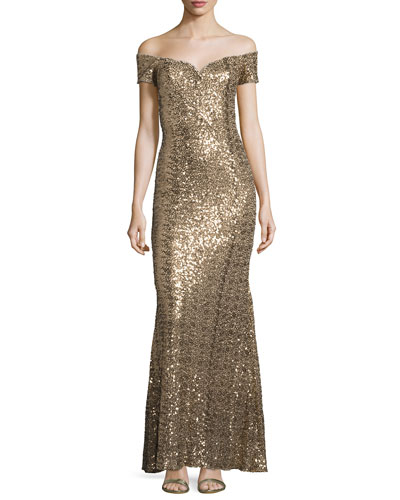 Off-the-Shoulder Sweetheart Sequin Gown, Gold