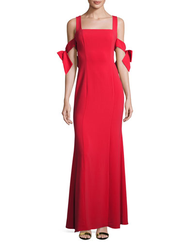 Sleeveless Stretch Crepe Gown, Red