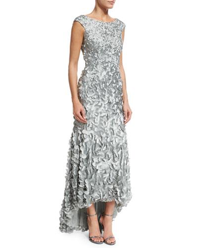 Cap-Sleeve Petal Column Gown, Mist