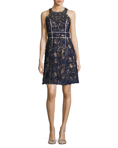 Sleeveless Beaded Lace Cocktail Dress, Navy