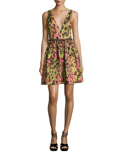 Sleeveless Animal Jacquard Cocktail Dress, Green
