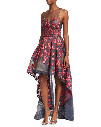 Embroidered Mesh High-Low Illusion Gown, Navy