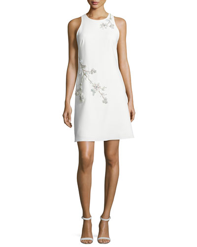 Sleeveless Embroidered Ponte Shift Dress, Ivory