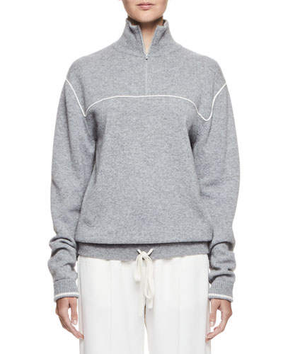 Piped Half-Zip Wool-Blend Pullover, Dark Chini