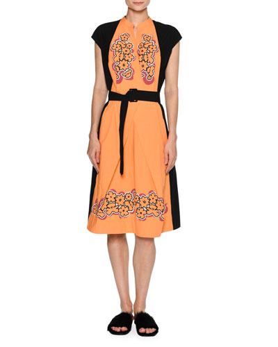 Floral Cap-Sleeve Belted Dress, Black/Orange