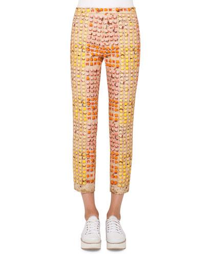 Franca Riviera-Print Ankle Pants, Riviera/Multi