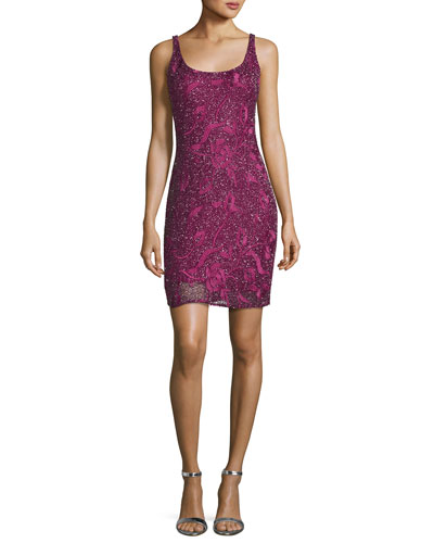 Sleeveless Beaded Floral Cocktail Dress, Maroon