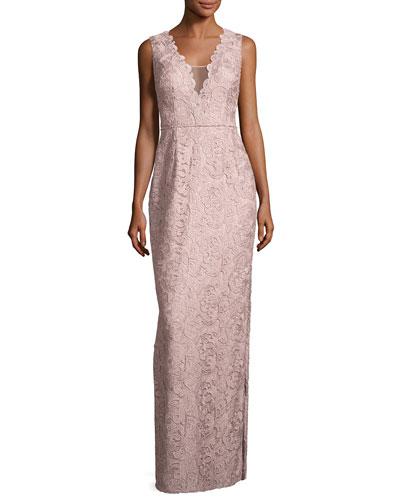 Sleeveless Leaf Lace Column Gown, Blush