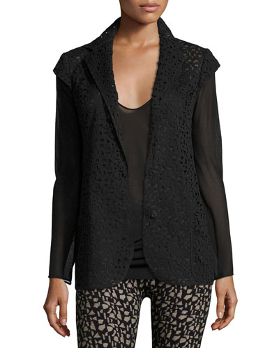 Laser-Cut Knit-Back Jacket, Black