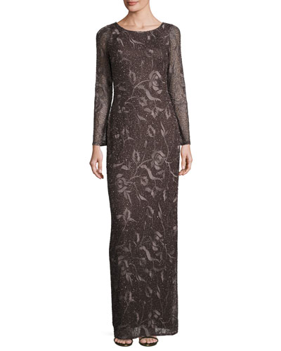 Long-Sleeve Beaded Floral Column Gown, Espresso