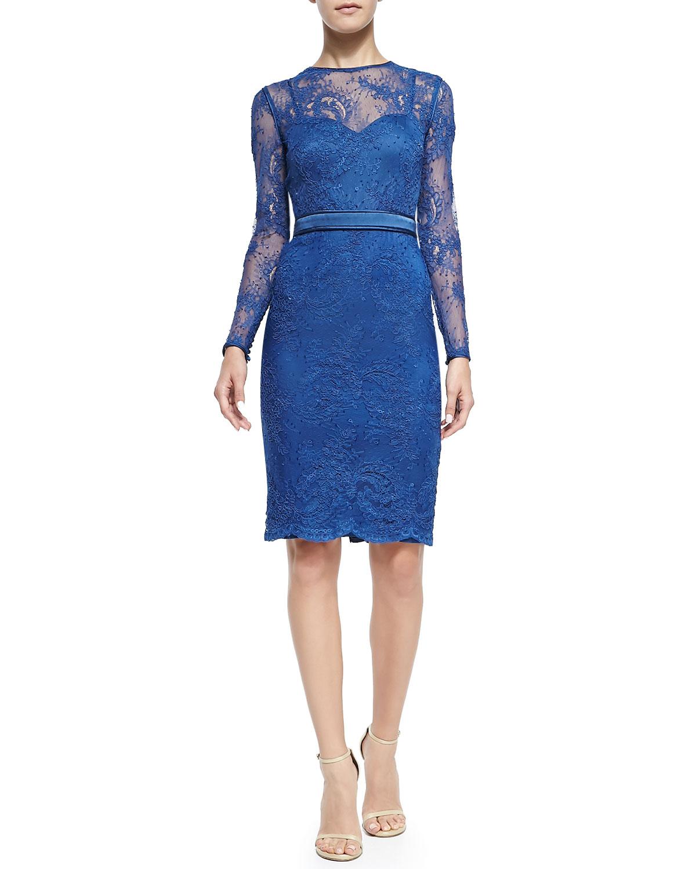 Yoko Long-Sleeve Lace Cocktail Sheath Dress