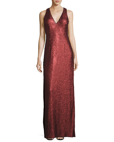 Sleeveless Sequin Column Gown, Crimson