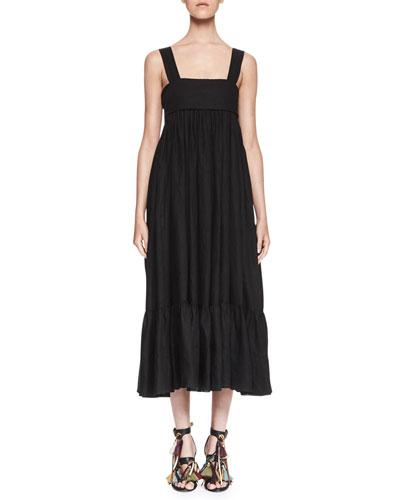 Square-Neck Linen Tie-Back Maxi Dress, Milk