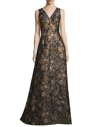 Sleeveless Metallic Floral Jacquard Gown, Brown