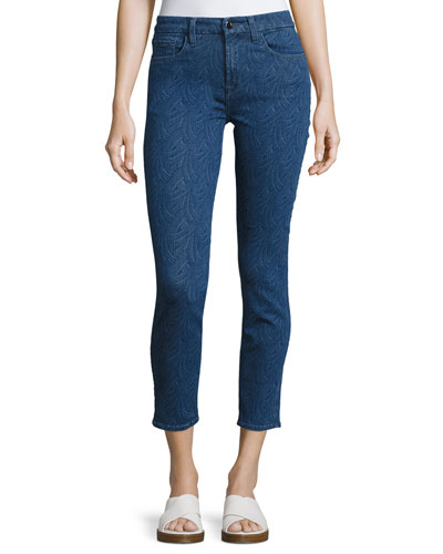 Lasered Jacquard Ankle Skinny Jeans