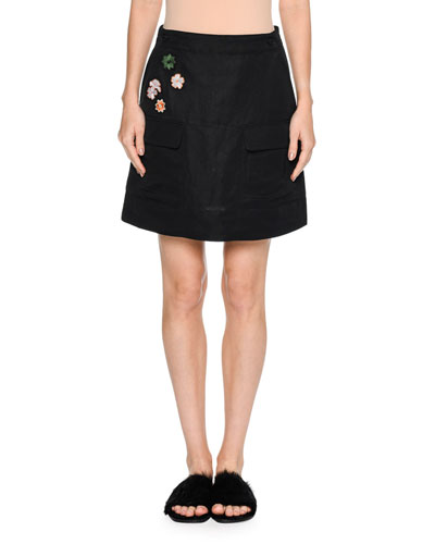 Floral-Patch A-Line Mini Skirt, Black