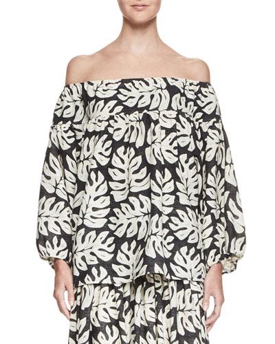 Palm-Print Off-the-Shoulder Blouse, White/Black
